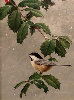 Chickadee  in  Holly -  Jim Hautman