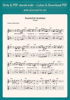 Teoman – İstanbul'da Sonbahar – Nota – Tab Teoman – Autumn in Istanbul – Note – Tab financing is Jazz Music, Piano Music, Sheet Music, Birthday Quotes For Daughter, Happy Birthday Quotes, Wedding Quotes, Wedding Humor, Guitar Tabs Songs, Istanbul