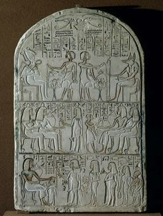 ~Stele of Setau Decorated with Three Rows of Depictions. Place: Ancient Egypt Date: 14th century BC Material: sandstone
