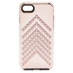 Rebecca Minkoff Chevron Stud iPhone 7 Case ($35) ❤ liked on Polyvore featuring accessories, tech accessories, rose gold, rose gold iphone case, rebecca minkoff, apple iphone case, iphone cover case and iphone cases