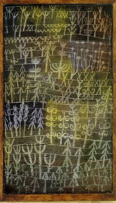 Paul Klee 'Flower Garden' 1924 Black paste ground,gouache and incising on paper, mounted on card 35 x 20.3 cm
