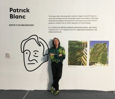 Patrick Blanc in front of his poster at the Mindpark Conference, Shenzhen, April 2017