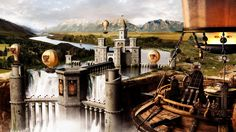 Wallpapers for Gt Steampunk City Wallpaper Fantasy City, Fantasy Castle, Medieval Fantasy, Fantasy World, City Wallpaper, Scenery Wallpaper, Waterfall Wallpaper, Painting Wallpaper, Steampunk Wallpaper