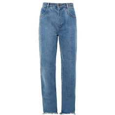 Chloé Frayed-hem wide-leg jeans (1.460 RON) ❤ liked on Polyvore featuring jeans, pants, bottoms, trousers, denim, high waisted wide leg jeans, high waisted blue jeans, wide leg blue jeans, frayed hem jeans and denim jeans