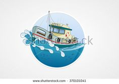 Moving fishing boat. Deep sea with wave. Round vector computer icons for applications or games. Logo and emblem template. Handdrawn Illustration