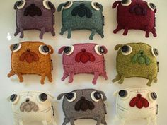 Pug Wool Pillows!  I want one; fawn medium please and thank you!