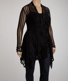 Take a look at this Black Stripe Lace Jasmine Cardigan - Plus by CANARI on #zulily today!  LOVE THIS <3 <3 <3