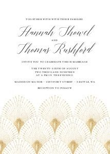 Great Gatsby Inspired Wedding- Share a hint of your personalities and an expression of your love with stunning photo wedding invitations that your guests will treasure as a keepsake for life. Custom wedding invitations give your guests a glimpse into the emotion of your special day. You can convey any vibe you wish with the wedding invitations and wording that you choose.