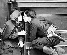 "Harold Lloyd and Bebe Daniels kissing scene in ""Two Gun Gussie"" (1918)"