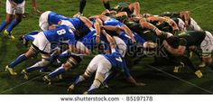 Rugby Scrum South Africa v Namibia. Rugby World Cup 2011 players in the match be , Rugby Images, Rugby World Cup, Graphic Design Layouts, Referee, South Africa, Stock Photos, Sports, Photography, September 22