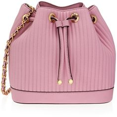 Henri Bendel No. 7 Drawstring Crossbody ($398) ❤ liked on Polyvore featuring bags, handbags, shoulder bags, crossbody handbags, pink quilted purse, drawstring handbags, quilted shoulder bag and pink cross body purse