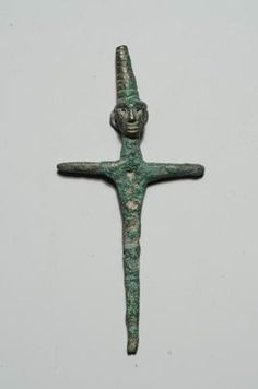 Peg-shaped figurine of a god  Hazor  Late Canaanite period, 15th-13th century BCE  Bronze  W: 5, H: 10 cm  Israel Antiquities Authority  Accession number: IAA 1997-3433