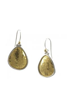 Gurhan 24KT Gold and Silver Signature Hand-hammered Elements Earrings. Short-drop Elements hook earrings with small Gold granulation in White Silver with Gold-Faced Amorphous Shape.