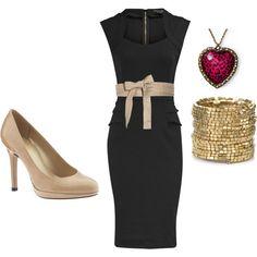 Otra opción al vestido negro: agregale una faja de raso y unos zapatos al tono, con bijou dorada y un toque de color. Super elegante.