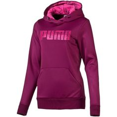 Puma Elevated Poly Hoodie ($40) ❤ liked on Polyvore featuring activewear, activewear tops, magenta purple, puma activewear and puma sportswear