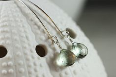 Simply Hand Formed Green Amethyst Argentium Sterling Silver Earrings - Leaf Earrings, by PrincessTingTing, $26.00