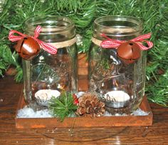 Set of 2 Christmas Mason Jar Candle Holders with by aandkaccents, $18.00