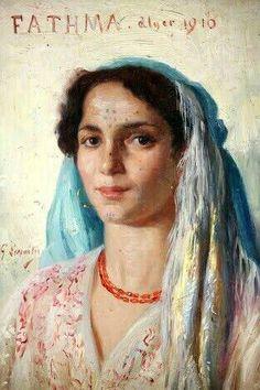 Algérie - Peintre Français, Gustave LEMAITRE (1862-1920), Huile sur toile1910, Titre : Fathma , Alger
