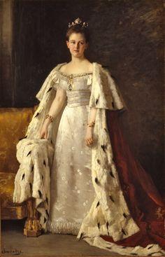 Therese Schwartze (1851-1918) Portrait of Queen Wilhelmina