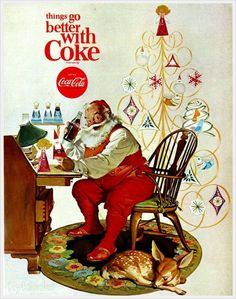 Santa Claus & Coca-Cola - - things go better with Coke, from Boys Life, 1966, Artist Haddon Sundblom