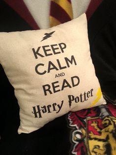 Keep Calm and Read Harry Potter Pillow w/ Lightning Bolt. $15.00, via Etsy.