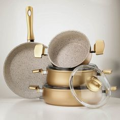Hisar Neptun 7 Piece Cookware Set Gold - 62460