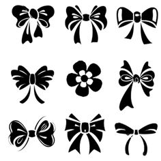 Illustration of Set of bow vector art, clipart and stock vectors. Bow Vector, Vector Art, Vector Stock, Silhouette Cameo Projects, Silhouette Design, Silhouette Files, Stencils, Tattoo Und Piercing, Silhouette Portrait