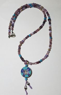 I strung some czech glass in shades of purple and lavender along with some turquoise to compliment the pretty butterfly bead that Jackie sent me – it made a lovely pendant! Turquoise Necklace, Beaded Necklace, Shades Of Purple, Czech Glass, Lavender, Soup, Butterfly, Beads, Pendant