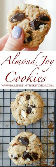 These are crispy chewy cookies loaded with chunks of chocolate, sweet coconut, and sliced almonds. This is one of my favorite flavor combinations. I've been on quite the almond / chocolate / coconut kick...