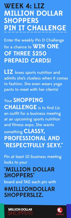 "Week 4 of our PIN IT CHALLENGE is all about Liz, from tonight's episode of #MillionDollarShoppers. Pin your selections to your ""Million Dollar Shoppers"" board on your account and tag each pin with #MillionDollarShoppersLiz. Complete your board by 12AM EDT on November 7 for a chance to win one of three $250 gift cards! Ready, Set, Pin!"