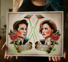 Mulder and Scully Tattoo Flash