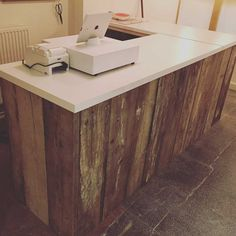 reclaimed wood shop counter
