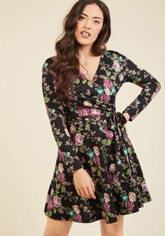 Gilli Inc City Councilor Long Sleeve Dress in Floral