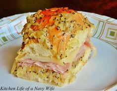 Hawaiian rolls, black forest ham, swiss cheese,  onion, dijon mustard, Worcester shire sauce, butter.