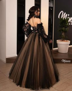 24 Black Wedding Dresses With Edgy Elegance ❤ black wedding dresses ball gown off the shoulder long sleeves black minnafashion #weddingforward #wedding #bride