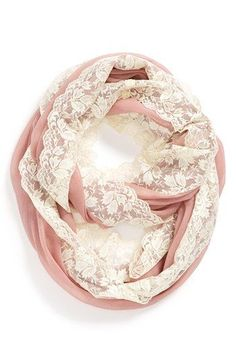 Raspberry-colored Lace trim Infinity Scarf from Nordstrom.