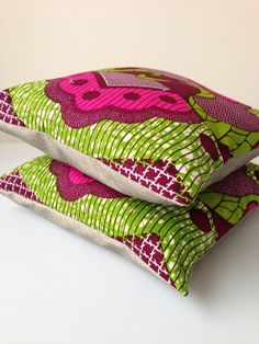 """African Print Pillow Covers - Home Decor - Decorative Pillow Covers - Couch Pillows - Throw Pillows - Bespoke - 16"""" x 16"""" on Etsy, £53.00"""