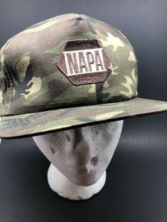 "8723183fb38 Details about Vintage ""Napa Auto parts "" Camo Canvas Full Back Snapback Hat"