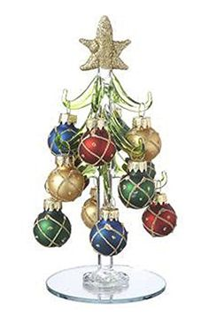 Golden Glitter Ornaments on Glass Christmas Trees by Ganz ** For more information, visit image link.