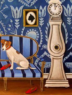 Fine Art Print of Original Still Life Painting -Jack Nibbles Prada-  by catherine nolin- Jack Russell Terrier
