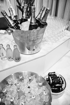 Laurent Perrier champagne, Capi mineral waters + black and white sandwiches from The Brown Paper Bag Laurent Perrier, Mineral Water, Brown Paper, Eating Well, Oysters, Champagne, Sandwiches, Food And Drink, Cocktails