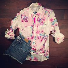 Sheer Floral Top and Studded Shorts