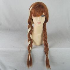 Anna Brown Medium Long Synthetic Hair Cosplay Anime Wig ,Braid Pigtail