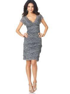 Sheath/Column V-neck Short Sleeves Lace Knee-length Mother Of The Bride Dresses