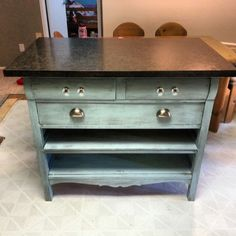 Old dresser turned kitchen island!! I love how the colour turned out!