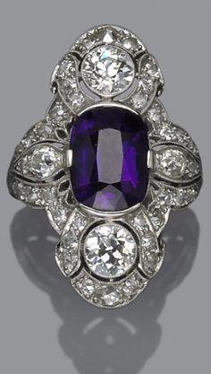An art deco amethyst and diamond ring, circa 1925