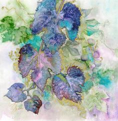 Original Watercolour Collage x on Arches 140 Lb. paper Embellished with gold metal leafing (Hover mouse for detail) Abstract Watercolor, Watercolor Flowers, Watercolor Paintings, Watercolour, Cool Calendars, Painted Leaves, Collage Artists, Botanical Illustration, Original Artwork