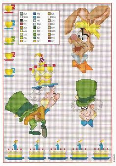 "Alice in Wonderland Cross Stitch - Mad Hatter  ""If you dont think, you shouldnt talk!"""