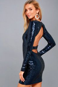 Star Sighting Navy Blue Backless Sequin Bodycon Dress