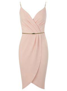 Coral Wrap Pencil Dress